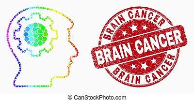 spectral, tête, grunge, engrenage, pointillé, cerveau, pensée, timbre, vecteur, cachet, cancer, icône