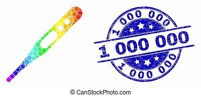 spectral, vecteur, grunge, timbre, thermomètre, 1, 000, cachet, point, icône