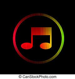 spectre, isolé, arrière-plan., incandescent, noir, musique