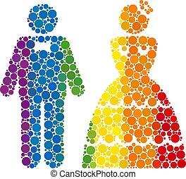 spectre, mosaïque, icône, mariage, paire, rond, points