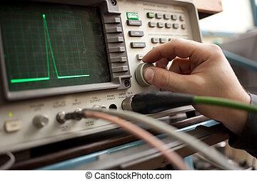spectrum, analyzer, paneel, met, hand