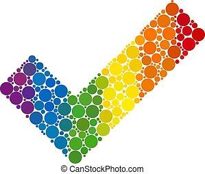 Spectrum Apply tick Mosaic Icon of Spheric Dots