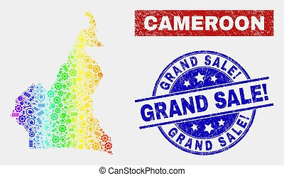 Spectrum Assemble Cameroon Map and Grunge Grand Sale! Stamp Seals
