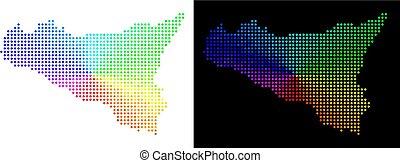 Spectrum Dot Sicilia Map - Rainbow dotted Sicilia map....
