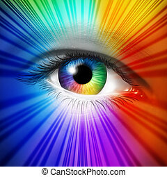 Spectrum Eye concept as a human iris and pupil with reflective multicolored starburst effect as a metaphor for fashion beauty and cosmetics or the power of creative vision.