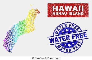 Spectrum Industrial Niihau Island Map and Grunge Water Free Stamps