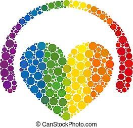 Spectrum Love dj Mosaic Icon of Spheric Dots