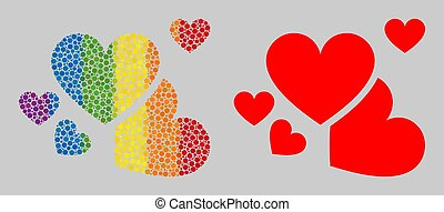 Spectrum Love hearts Mosaic Icon of Spheric Dots