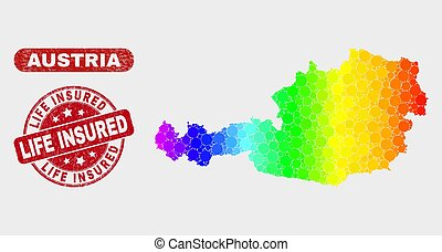 Spectrum Mosaic Austria Map and Grunge Life Insured Seal