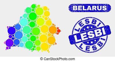 Spectrum Mosaic Belarus Map and Grunge Lesbi Stamp