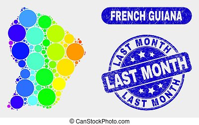 Spectrum Mosaic French Guiana Map and Grunge Last Month Stamp