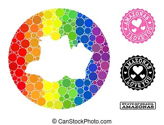 Spectrum Mosaic Hole Round Map of Amazonas State and Love Grunge Stamp for LGBT