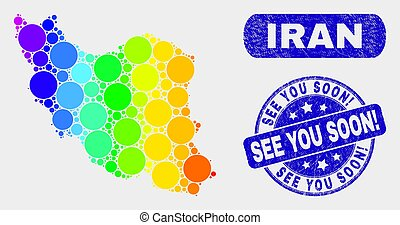 Spectrum Mosaic Iran Map and Scratched See You Soon! Seal -...
