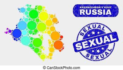 Spectrum Mosaic Krasnodarskiy Kray Map and Distress Sexual Stamp Seal