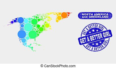 Spectrum Mosaic North America and Greenland Map and Grunge Get a Better Girl Stamp