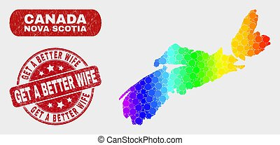 Spectrum Mosaic Nova Scotia Province Map and Scratched Get a Better Wife Stamp Seal