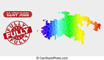 Spectrum Mosaic Saint John Island Map and Scratched Fully Stamp Seal