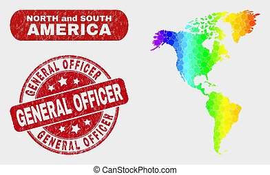 Spectrum Mosaic South and North America Map and Grunge General Officer Seal