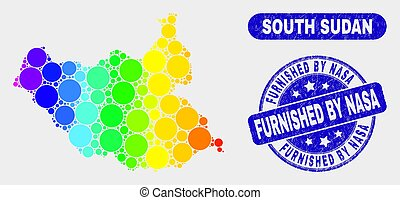 Spectrum Mosaic South Sudan Map and Grunge Furnished by NASA Stamp Seal
