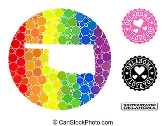 Spectrum Mosaic Stencil Round Map of Oklahoma State and Love Rubber Stamp for LGBT