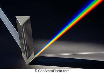 Diffraction of sunlight through a glass prism - Creating complete spectrum of sunlight - Rainbow colors