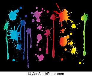 Spectrum colored paint splatters on black background