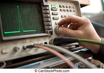 spectrum, paneel, hand, analyzer