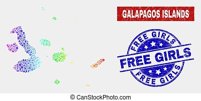 Spectrum Production Galapagos Islands Map and Grunge Free Girls Stamp Seals
