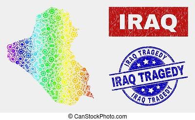 Spectrum Productivity Iraq Map and Distress Iraq Tragedy Watermarks