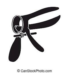 speculum, stil, illustration., symbol, isolerat, bakgrund., vektor, svart, graviditet, vit, ikon, block