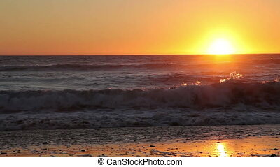 Sped Up Sunset Over Ocean Gold Beac - Sun Just About To Set...