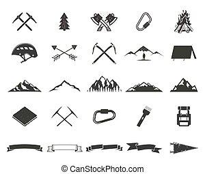 spedizione, semplice, etichette, montagna, uso, campeggio, ...
