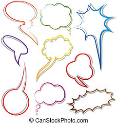Speech and thought bubble. Dialog cloud. Vector illustration...