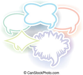 Speech and thought bubbles, vector illustration