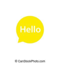 Speech babble Hello icon. Yellow speech babble massage vector illustration isolated on white