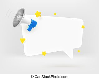 Speech balloon with megaphone. Template with copy space