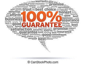 Speech bubble with the words 100% Guarantee on white background.