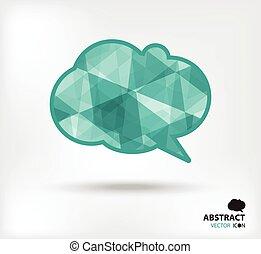 Speech bubble abstract vector icon geometric polygon