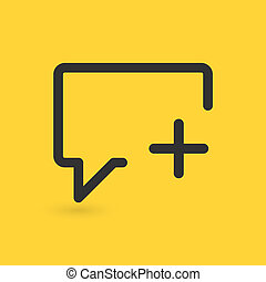 Speech Bubble Add icon, vector illustration isolated on yellow background.