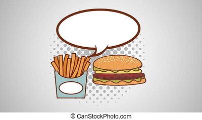 speech bubble and fast food pop art style animation - speech...