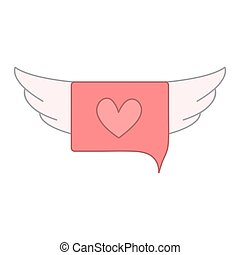speech bubble and pink heart shapes with wings. vector design illustration