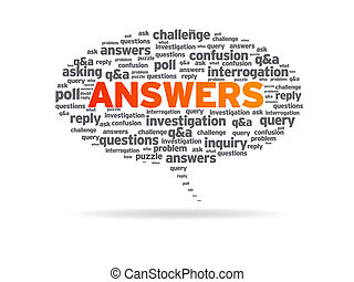 Speech bubble with the word answers on white background.