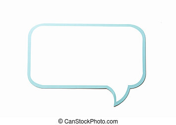 Speech bubble as a cloud with blue border isolated on white background.