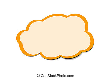 Speech bubble as a cloud with orange border isolated on white background. Copy space