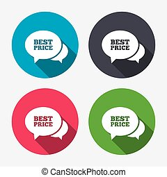 Speech bubble best price icon. Special offer.