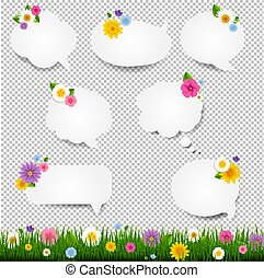 Speech Bubble Big Set With Grass Border Transparent Background