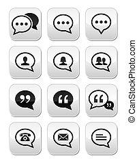 Speech bubble, blog contact buttons