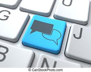 Speech Bubble-Blue Button on Keyboard. Social Media Concept.