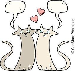 speech bubble cartoon cats in love