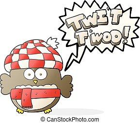 speech bubble cartoon cute owl singing twit twoo